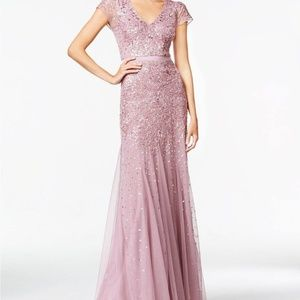 Adrianna Papel Beaded Gown Lilac color size 4